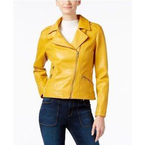 I.N.C. Vegan Mustard Gold Yellow Motorcycle Jacket